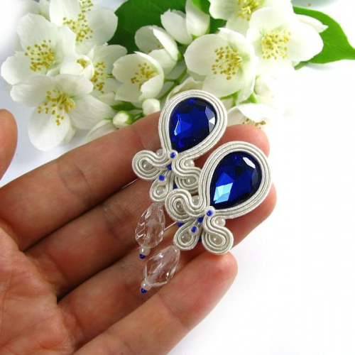 Bridal soutache hand embroidered earrings