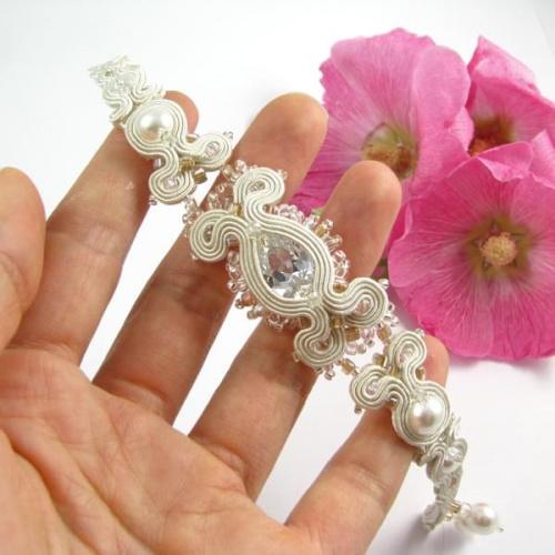 Ślubna bransoleta soutache