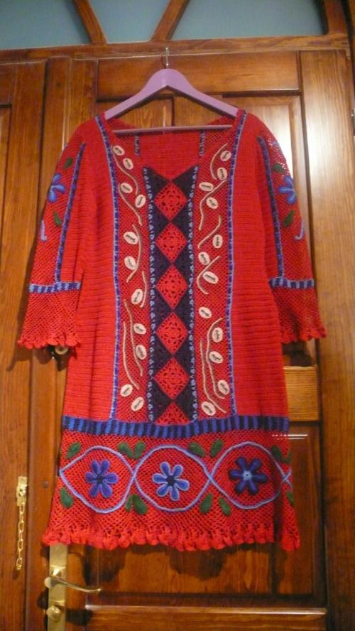 sukienka w stylu peruwiańskim #SukienkaNaSzydełku #SukienkaZKordonka