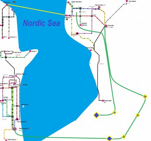 Mapa Nordic sea #tramwaje