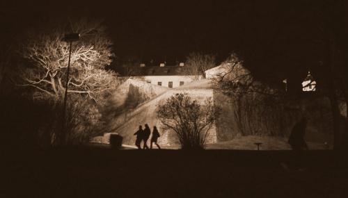Nocą pod zamkiem Spilberk, Brno, Czechy, 02.2014