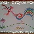 Obrazki z szycia wzięte - na podstawie wzoru ze stitchingcards.com #HaftMatematyczny #ObrazkiZSzyciaWzięte #wielkanoc #KartkiNaWielkanoc #kogut