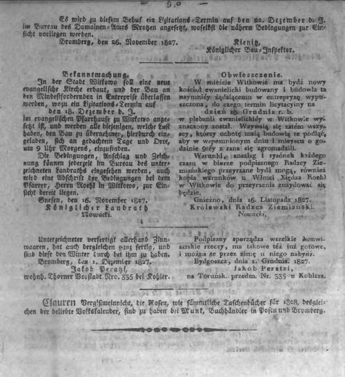 Oeffentlicher Anzeiger zum Amtsblatt No.48. 1827 p0010 witkowo kościól ewangielicki